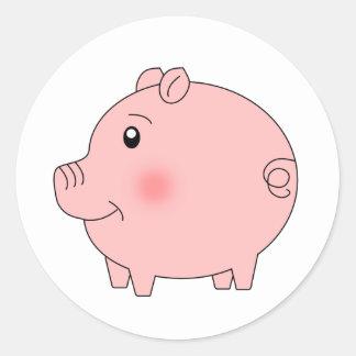 Cerdo gallardo pegatina redonda
