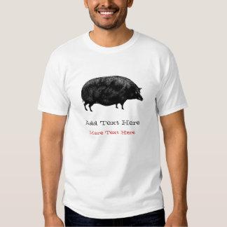 Cerdo gordo grande del vintage poleras