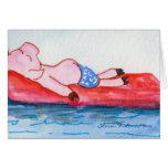Cerdo grande del papá que flota en tarjeta de la b