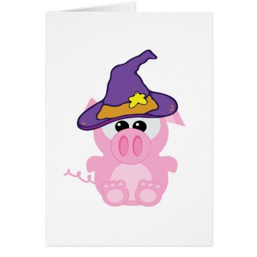 cerdo guarro de los goofkins witchy tarjeta de felicitación
