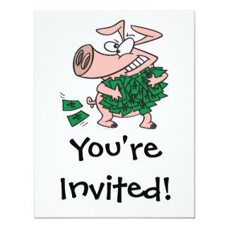 """cerdo guarro del cerdo codicioso divertido del invitación 4.25"""" x 5.5"""""""
