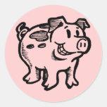 Cerdo guarro pegatina redonda