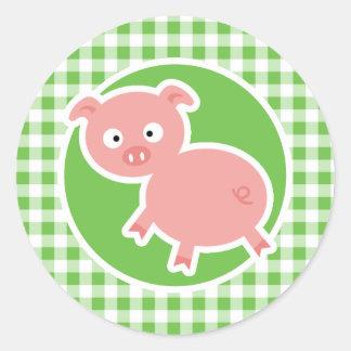 Cerdo; Guinga verde Pegatina Redonda