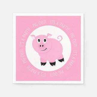 Cerdo hacia fuera es un cumpleaños guarro rosado servilletas desechables