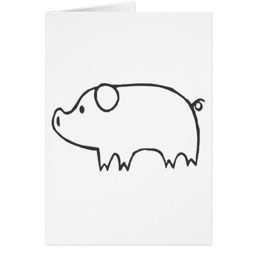 Cerdo joven en bosquejo blanco y negro tarjeta de felicitación
