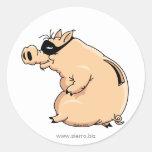 Cerdo Ladrón Pegatina Redonda