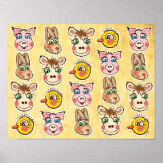Cerdo, liebres, polluelo y vaca - poster