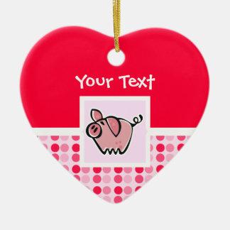 Cerdo lindo adorno navideño de cerámica en forma de corazón
