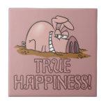cerdo lindo de la felicidad verdadera en dibujo an azulejos