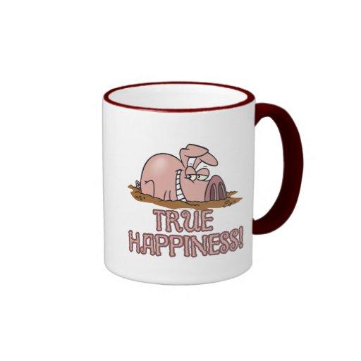 cerdo lindo de la felicidad verdadera en dibujo an taza