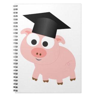 Cerdo lindo de la graduación note book
