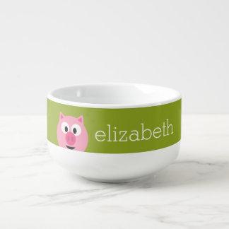 Cerdo lindo de la granja del dibujo animado - rosa bol para sopa