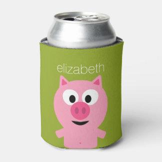 Cerdo lindo de la granja del dibujo animado - rosa enfriador de latas