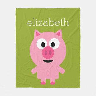 Cerdo lindo de la granja del dibujo animado - rosa manta de forro polar