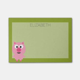 Cerdo lindo de la granja del dibujo animado - rosa notas post-it®
