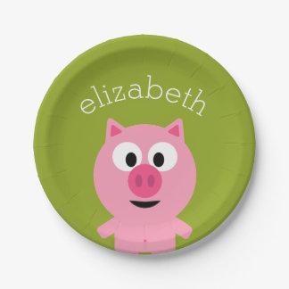 Cerdo lindo de la granja del dibujo animado - rosa plato de papel de 7 pulgadas