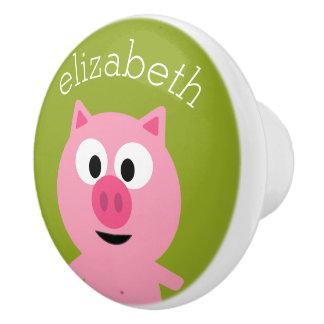 Cerdo lindo de la granja del dibujo animado - rosa pomo de cerámica