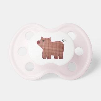 Cerdo lindo de la tela escocesa del rosa del estil chupetes de bebé