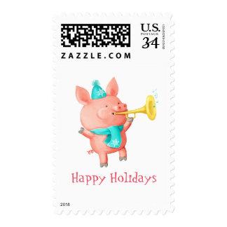 Cerdo lindo de los días de fiesta sello