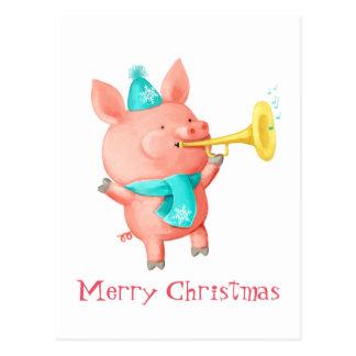 Cerdo lindo de los días de fiesta tarjeta postal