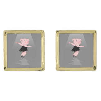 Cerdo lindo del baile del ballet del dibujo gemelos dorados