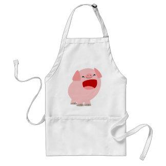 Cerdo lindo del canto del dibujo animado que cocin delantal