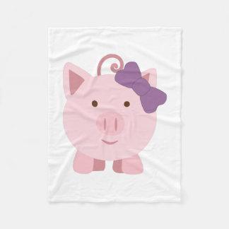 Cerdo lindo del chica manta de forro polar