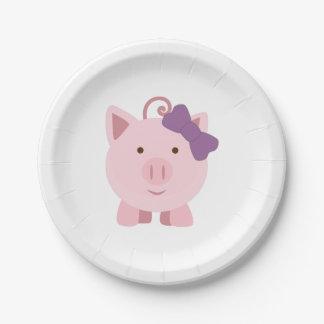 Cerdo lindo del chica plato de papel de 7 pulgadas