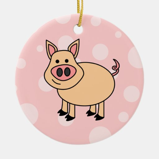 Cerdo lindo del dibujo animado adorno navideño redondo de cerámica