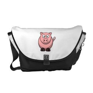 Cerdo lindo del dibujo animado bolsa de mensajeria