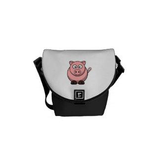 Cerdo lindo del dibujo animado bolsas de mensajeria