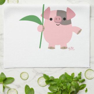 Cerdo lindo del dibujo animado con la toalla de co