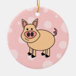 Cerdo lindo del dibujo animado ornaments para arbol de navidad