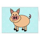 Cerdo lindo del dibujo animado felicitación