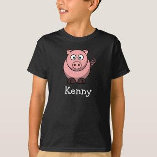 Cerdo lindo del dibujo animado personalizado con playera