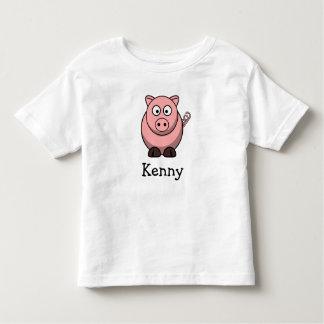 Cerdo lindo del dibujo animado personalizado con playera de bebé