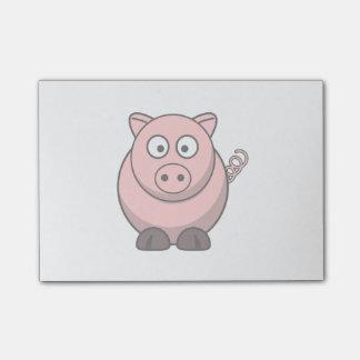 Cerdo lindo del dibujo animado post-it® notas