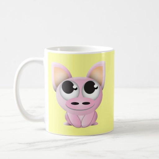 Cerdo lindo del dibujo animado taza de café