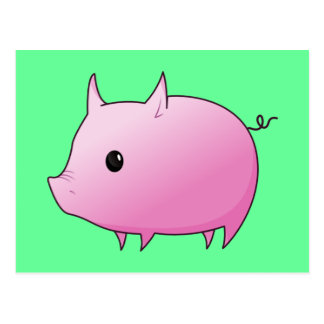 Cerdo lindo del rosa del dibujo animado postal