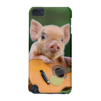 Cerdo lindo divertido que toca la guitarra funda para iPod touch 5G