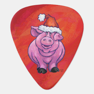 Cerdo lindo en el gorra de Santa en rojo Plumilla De Guitarra