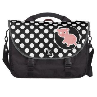 Cerdo lindo en lunares blancos y negros bolsas para portátil