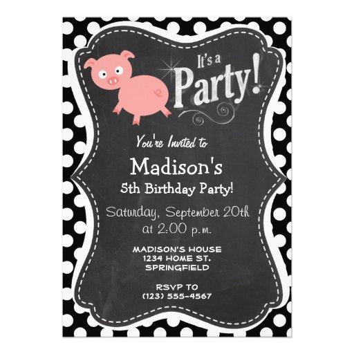 Cerdo lindo en lunares blancos y negros invitacion personal