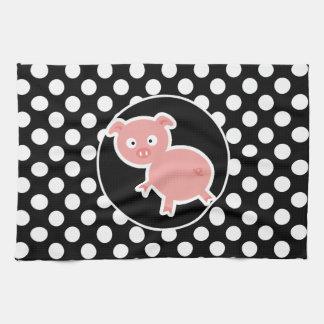 Cerdo lindo en lunares blancos y negros toallas de cocina