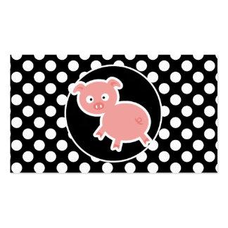 Cerdo lindo en lunares blancos y negros tarjetas de visita