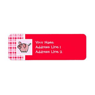 Cerdo lindo etiqueta de remite