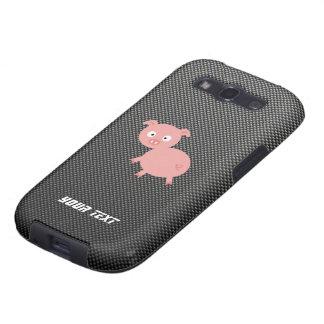 Cerdo lindo; Falsa fibra de carbono Samsung Galaxy S3 Protectores