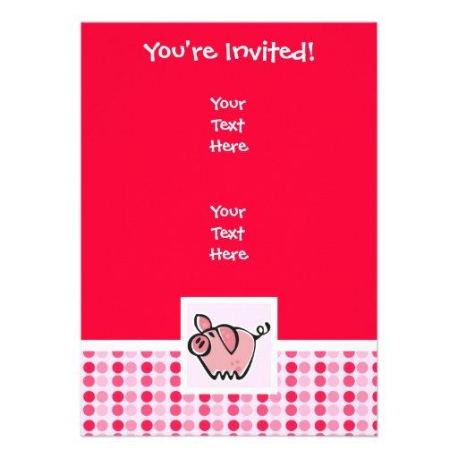 Cerdo lindo invitación personalizada