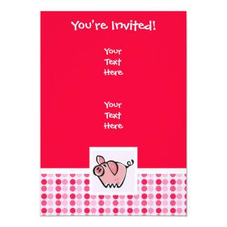 Cerdo lindo invitación 12,7 x 17,8 cm