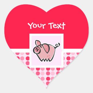 Cerdo lindo pegatina en forma de corazón
